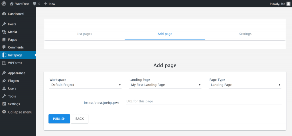 Instapage Publishing an Instapage Landing Page on a WordPress website