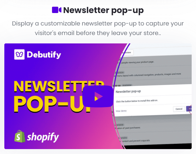 Debutify Coupon e Newsletter pop-up