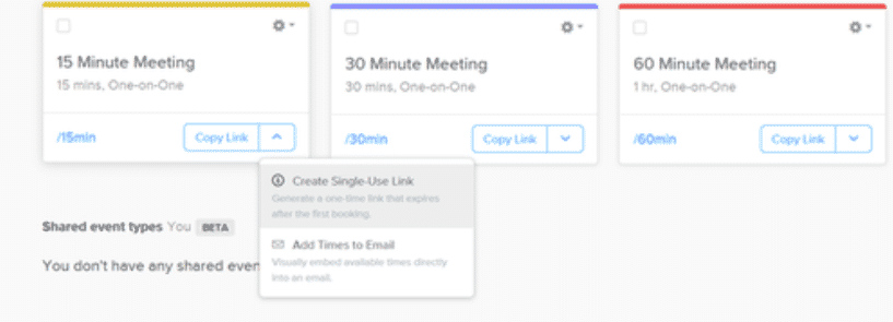 Calendly Different types of meeting